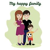 Happy family, friendship adoptive parents