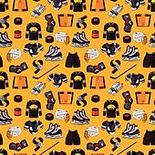 cartoon hockey sport seamless pattern