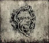 Tattoo art, sketch of a classic head