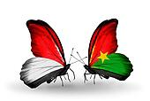 Two butterflies with flags on wings as symbol of relations Monaco, Indonesia and Burkina Faso