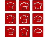 set of abstract chef hat