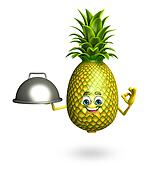 Cartoon character of pineapple with pan