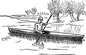 Canoe or Canadian canoe vintage engraving