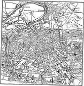 Paris and its environs vintage engraving