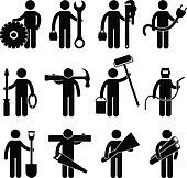 Construction Worker Job Icon Pictog