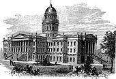 Topeka, Capitol of the state of kansas or Kansas Statehouse, vintage engraving.