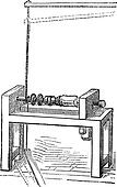 Pole Lathe Woodturning Machine, vintage engraving