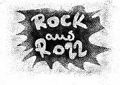 Rock and roll music word background
