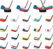 Vector ice hockey sticks/country1