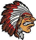 Indian Chief Mascot Head Cartoon Ve