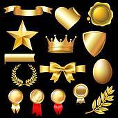 Big Set Of Gold Elements