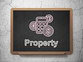 Finance concept: Calculator and Property on chalkboard background
