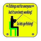 An illustration of a yellow sign of a person sitting in a chair fishing isolated on white
