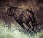 Sketch made with digital tablet, bull running on vintage paper,