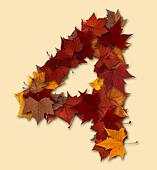 Number four multicolored fall leaf composition isolated