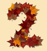 Number two multicolored fall leaf composition isolated