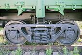 The railway wheels of soviet cargo wagon.