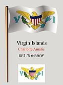 virgin islands wavy flag and coordinates