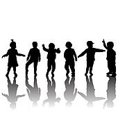 Silhouettes of children and shadows