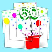 Number Sixty Surprise Box Displays Elderly Surprise Party Or Cel
