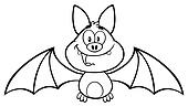 Black And White Happy Vampire Bat