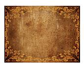 brown leather background with golden floral decorations