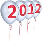New Year 2012 party balloons white