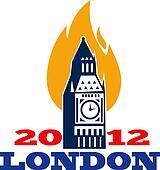 London Big Ben Clock Tower Gold Flames 2012