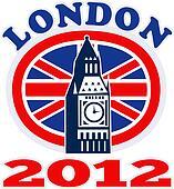 London Big Ben British Union Jack flag 2012