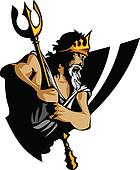 Titan Mascot with Trident and Crown