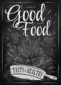 Poster good food chalk