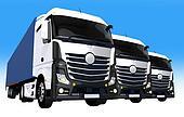 Cargo Trucks Fleet Illustration