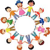 Circle of happy children  cartoon d