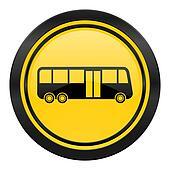 bus icon, yellow logo, public transport sign