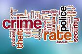 Crime rate word cloud with abstract background