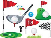 set of full colour golf icons and designs