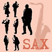 Saxophone players silhouettes set