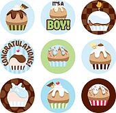 Illustrated Cupcake Circles For Boys
