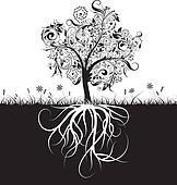 Decorative tree and roots, grass, vector