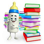 Baby Bottle character with Books pile