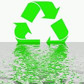artistic recycling symbol reflection