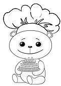 Teddy bear cook with cake, contours