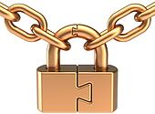 Lock padlock closed with chain