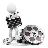 3D white people. Clapper board and film reel