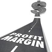 Profit Margin words on black pavement road to illustrate rising or increasing net earned income, money or revenue for a business or company