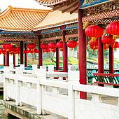 Red lanterns and ancient buildings