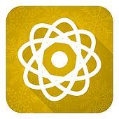 atom flat icon, gold christmas button