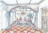 Sketch of interior of dining room