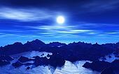 3D Alien landscape at night