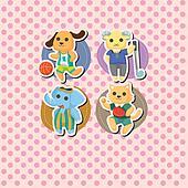 cartoon animal sport card